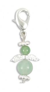 Schlüsselanhänger Engel Aventurin (grün) 3 cm, Karabiner Schutzengel Anhänger
