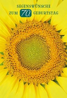 Glückwunschkarte Segenswünsche zum 70. Geburtstag (6 St) Sonnenblume Psalm