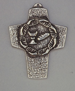 Wandkreuz Neusilber Brot und Wein 10 cm Erstkommunion Kreuz Peters Jürgen