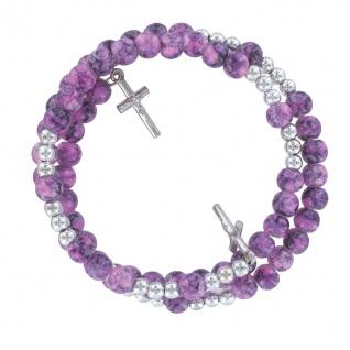 Kreuz-Armband violette Perlen mit Metallkreuzen Ø 6 cm elastic Kruzifix Armband