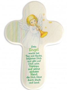 Kinderkreuz Schutzengel Naturholz Text Dein Engel wacht.. 16 cm Wandkreuz Kreuz
