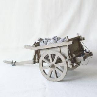 Wagen mit Säcken handgefertigt Holz 39 cm Zubehör für Weihnachtskrippe
