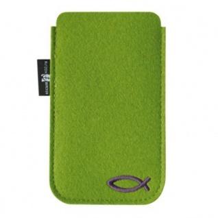 Handy-Tasche grün, christliches Fisch-Motiv Kommunion Geschenk 12, 5 cm