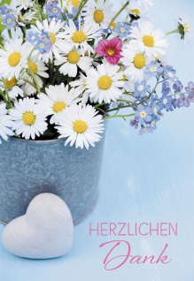 Grußkarte Dank Franz Hübner 6 St Kuvert Blumen Augenblick Leben Freude Herz