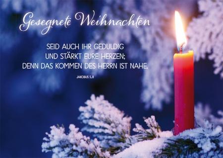 Postkarte Jakobus Gesegnete Weihnachten Kerze Grußkarte mit Bibelwort (10 Stück)