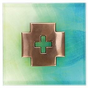 Glaskreuz Kreuzplakette Bronze 13, 5 cm Christliches Kreuz