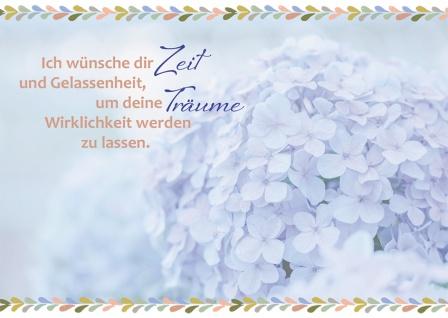 Postkarte Hortensie Ich wünsche dir (10 Stck) Glückwunschkarte Grußkarte