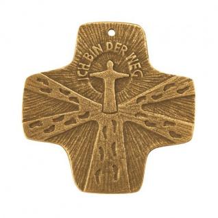 Kommunion-Kreuz Ich bin der Weg 7 x 7 cm Bronze Christliches Kreuz