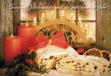 Glückwunschkarte Gesegnete Weihnachten (6 Stück) Stollen Grußkarte mit Kuvert