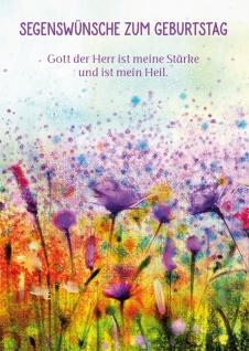 Postkarte Geburtstag Blumen-Wiese 10 St Adressfeld Bibelwort Kraft Stärke Glaube