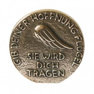 Hoffnung Bronzeplakette poliert Aufstellen Hängen 8 cm Wandbild Deko