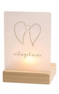 Teelichthalter Ein Engel für dich Acrylglas Holzleuchter Geschenkset