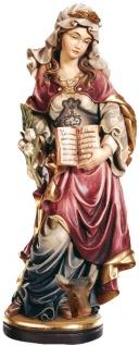 Heilige Perpetua mit Buch und Stierkopf Holzfigur geschnitzt Südtirol Märtyrerin