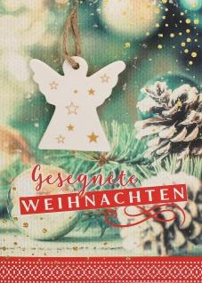 Weihnachtskarte Gesegnete Weihnachten Porzellan Engel-Anhänger Kuvert 5 Stk