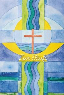 Glückwunschkarte Zur Taufe Kreuz und Wellen Jesaja Bibelwort (6 Stück) Kuvert