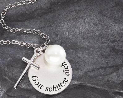 Anhänger Gott schütze Dich 3-tlg. Kreuz Perle, Kette 925 Sterlingsilber Gravur