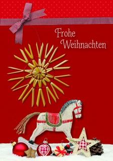 Weihnachtskarte Strohstern Frohe Weihnachten (5 Stck) Heidi Rose Kuvert