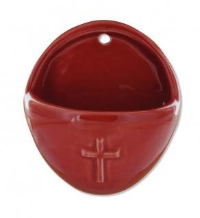Weihwasserkessel Kreuz oval 10 cm rot Weihwasserbecken für Zuhause