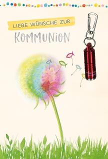 Glückwunschkarte rote Taschenlampe Wünsche zur Kommunion (5 Stück) mit Kuvert
