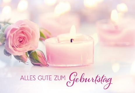 Glückwunschkarte Geburtstag Adalbert Ludwig Balling 6 St Kuvert Kerze Rose Segen