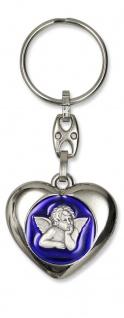 Schlüsselanhänger Schutzengel Herz blau 9 cm Engel Anhänger