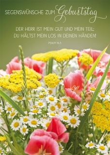 Postkarte Geburtstag Blumenstrauß 10 St Adressfeld Bibelwort Segen Wunsch