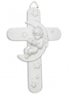 Kinderkreuz Engel im Mond Kunstguss weiß 13, 5 x 8, 5 cm