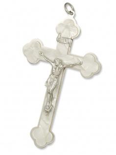 Sterbekreuz Kleeblatt weiß 11 cm Christliches Kreuz - Vorschau
