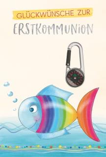 Glückwunschkarte Kompass-Karabiner Regenbogenfisch Erstkommunion 5 Stück