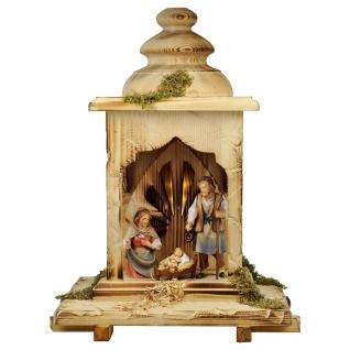 Hirten Krippe Set mit Licht 5 Teile Holzfigur geschnitzt Weihnachtskrippe