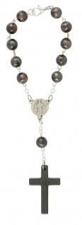 Zehner-Rosenkranz Kunstguss-Perle grau 15 cm Auto-Rosenkranz Rückspiegel