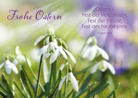 Postkarte Frohe Ostern Schneeglöckchen mit Adressfeld 10 Stck