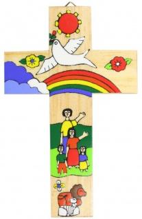 Kinderkreuz Regenbogen Naturholz El Salvador 15 cm handbemalt Wandkreuz Kreuz