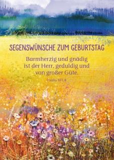 Postkarte Geburtstag Blumen-Wiese 10 St Adressfeld Bibel Barmherzigkeit Gnade