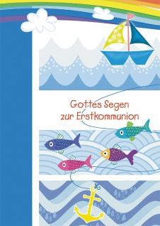 Glückwunschkarte Gottes Segen zur Erstkommunion (6 St) Boot Fische und Anker