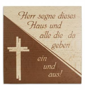 Haussegen Kreuz Buchenholz bedruckt 14 x 14 cm
