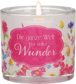 Windlicht Glas Wunder Martin Luther Teelicht Blüten Pergament-Umleger