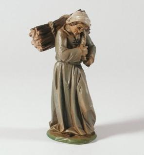 Tiroler Krippe Hirtin mit Holzbündel bemalt 15 cm Krippen Figur Weihnachten - Vorschau