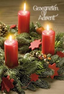 Glückwunschkarte Gesegneten Advent (6 St) Adventskranz Kerzen Grußkarte Kuvert