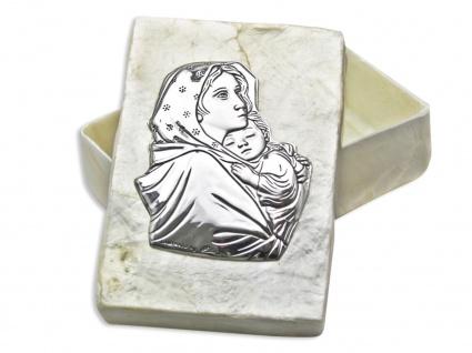 Rosenkranz Etui Madonna mit Kind echt Perlmutt echt Silber