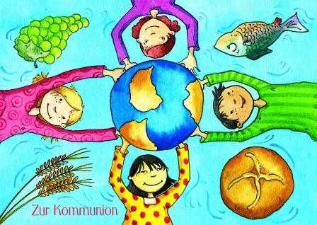 Kommunionkarte Kommunion (6 Stck) Glückwunschkarte Erstkommunion Grußkarte