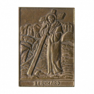 Namenstag Bernhard 8 x 6 cm Bronzeplakette Bronzerelief Wandbild Schutzpatron