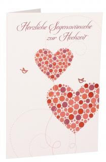 Glückwunschkarte Herzliche Segenswünsche zur Hochzeit (6 St) Herzen Lutherbibel