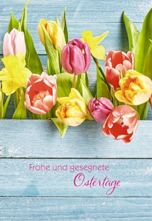 Grußkarte Frohe und gesegnete Ostern (6 Stck) Tulpen Kuvert Glückwunschkarte