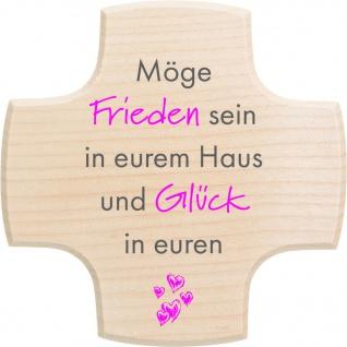 Haussegen Möge Frieden in eurem Haus, Holz rot 13 cm