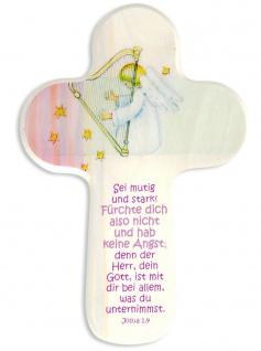 Kinderkreuz Schutzengel Harfe Naturholz Text Fürchte dich nicht 15 cm Wandkreuz