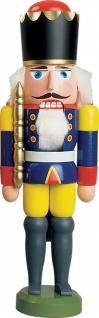 Nussknacker König blau 29 cm Holz-Figur Handarbeit aus Seiffen im Erzgebirge