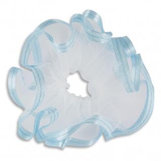 Kerzenmanschette Satinband hellblau Tüll weiß 12 x 9 cm für Langkerzen