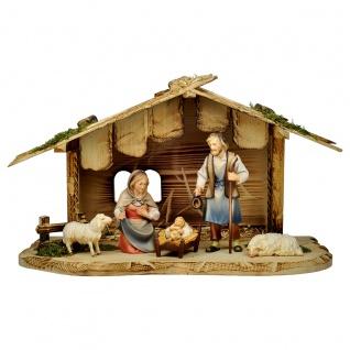 Hirten Krippe Set 7 Teile Holzfigur geschnitzt Südtirol Weihnachtskrippe