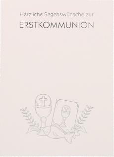 Glückwunschkarte Segenswünsche Erstkommunion Kelch Bibel Fisch 6 Stück Kuvert
